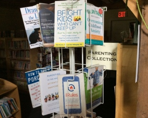 Display of new parenting books