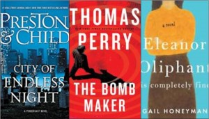 new book covers: City of Endless Night, The Bomb Maker, Eleanor Oliphant is completely fine