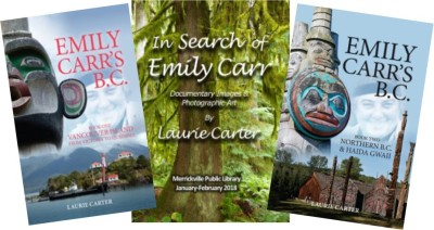 book covers and poster by Laurie Carter about Emily Carr