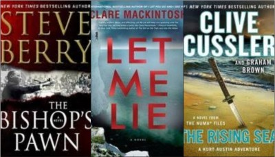 New book covers: The bishop's pawn; Let me lie; The rising sea