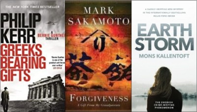 new book covers: Greeks bearing gifts; Forgiveness; Earth Storm