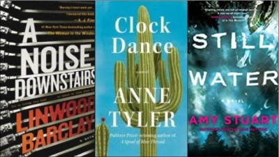 New Book Covers: A noise downstairs; Clock dance; Still water