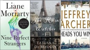 New book covers: Nine perfect strangers, The rain watcher, Heads you win