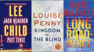 New book covers: Past Tense, Kingdom of the Blind, Long Road to Mercy