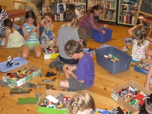 kids playing with LEGO at the Library