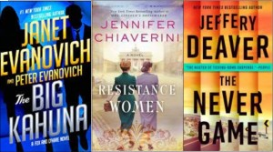 New book covers: The big kahuna; Resistance women; The never game