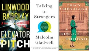 Book covers: Elevator Pitch, Talking to Strangers, A Single Thread