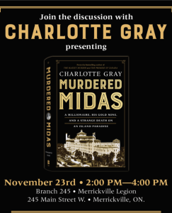 Poster for Charlotte Gray author visit