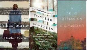 New book covers: Cilka's journey; To speak for the trees; A Delhi obsession
