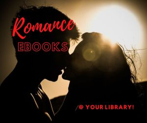 Romance ebooks graphic featuring couple kissing