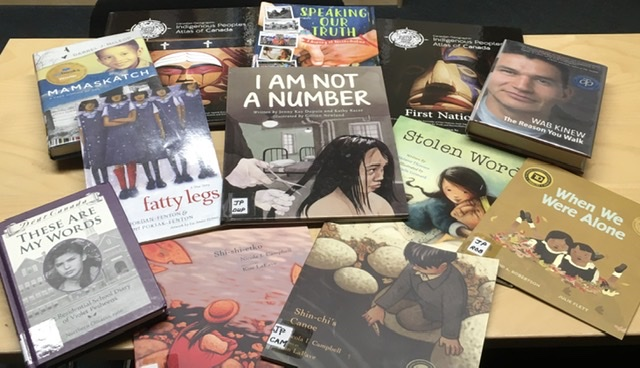 display of books about residential schools